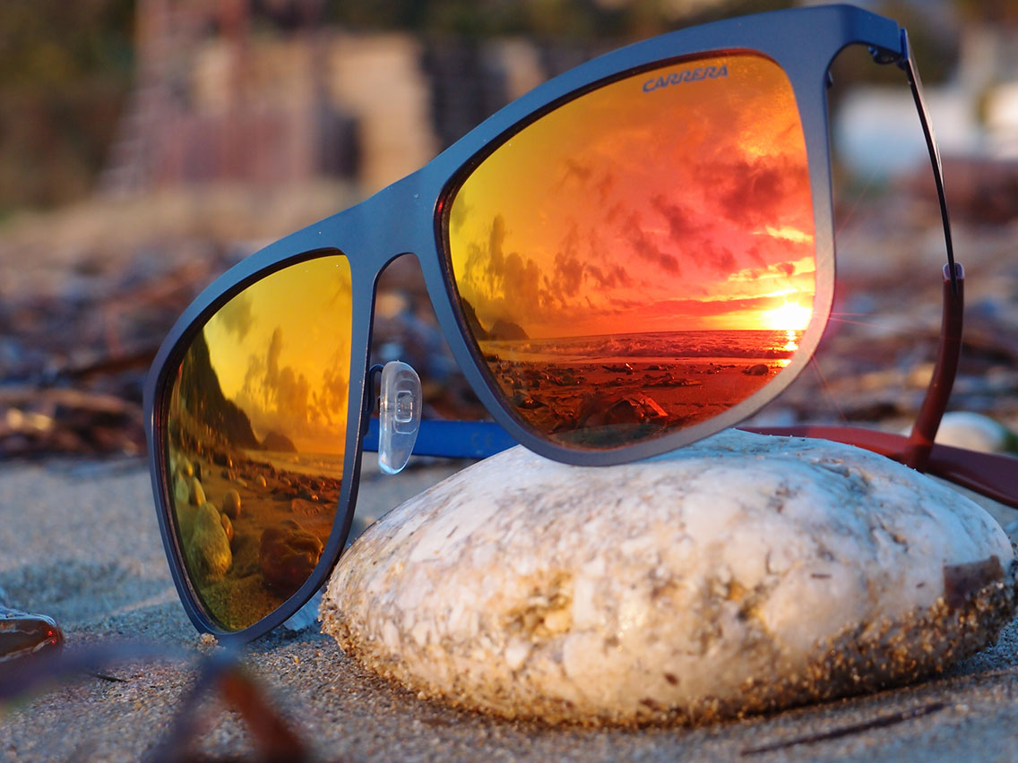 Ανδρικός σκελετός Carrera με μπλε μέταλλό και φακούς με πορτοκαλί καθρέφτη